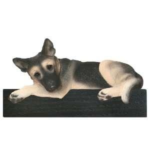 Black/Tan Head Down German Shepherd Dog Shelf and Wall Plaque