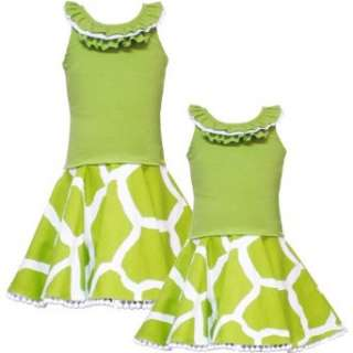 Rare Editions GIRLS 2T 6X LIME GREEN WHITE GIRAFFE ANIMAL