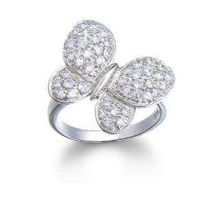 Silver Pave Cubic Zirconia Butterfly Ring by Cheline, Size 9 Jewelry
