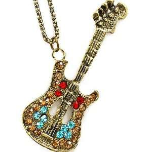 Fancy Large Burnished Gold Tone and Multi Color Crystal Musical Guitar