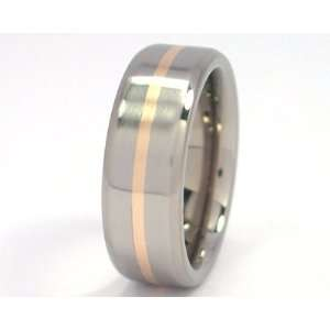 New 7mm Titanium Wedding Ring With 14k Yellow Gold Inlay, Free Sizing