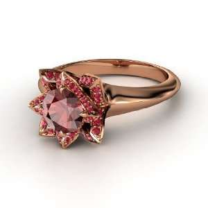 Lotus Ring, Round Red Garnet 14K Rose Gold Ring with Ruby