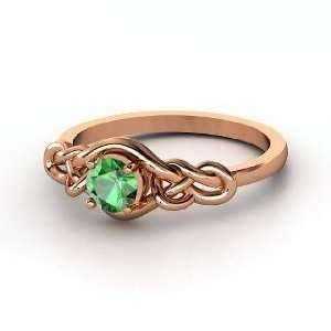 Sailors Knot Ring, Round Emerald 14K Rose Gold Ring Jewelry