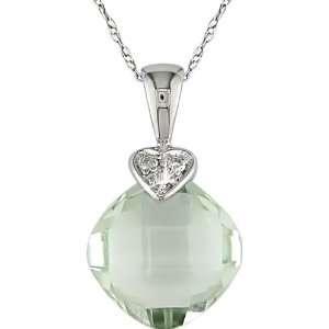 10k white gold green amethyst and diamond heart pendant