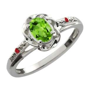 0.52 Ct Oval Green Peridot Red Rhodolite Garnet 18K White