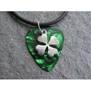 Guitar Pick Necklace with Shamrock Charm on Emerald Green Pick Unique