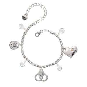 Silver Handcuffs Love & Luck Charm Bracelet with Clear