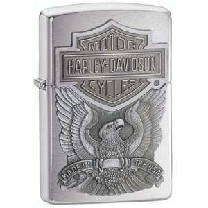 Zippo Harley Davidson Eagle Emblem Brushed Chrome Lighter