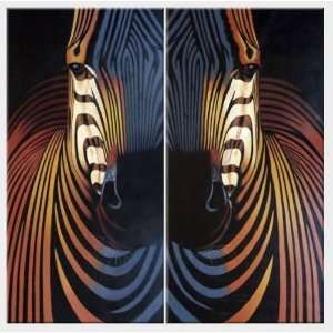 Colorful Zebra Heads   2 Canvas Set Oil Painting 48 x 48 inches