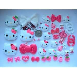 Hello Kitty Bling Bling 40 Pieces Flat back Resin Cabochon/ Rhinestone