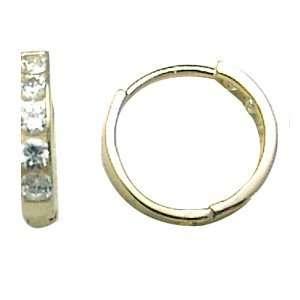 Modern Simplicity CZ Band 14K Yellow Gold Huggie Earrings Jewelry