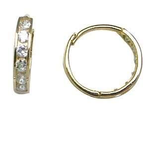 Thin CZ Eternity Band 14K Yellow Gold Huggie Earrings Jewelry