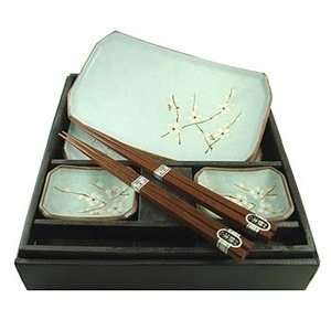 Japanese Ume Sushi Plate Chopsticks Gift Set #qg6/bp