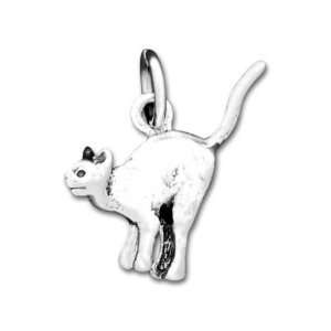 Sterling Silver Halloween Cat Charm Arts, Crafts & Sewing