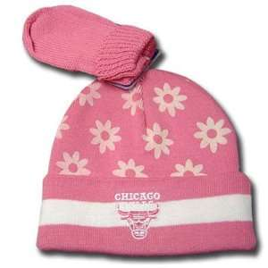 CHICAGO BULLS BEANIE KNIT GLOVES SET GIRL YOUTH PINK