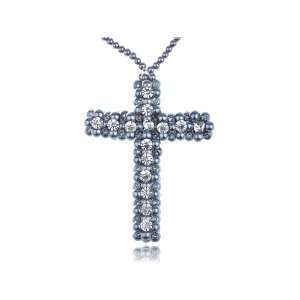 Faux Grey Pearl Beads Crystal Rhinestone Large Cross Necklace Jewelry