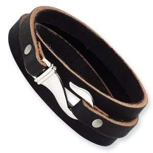 Steel Black and Brown Leather Wrap Bracelet Vishal Jewelry Jewelry