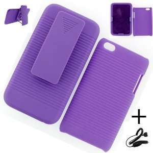 Apple iPod Touch 4G HOLSTER CASE PURPLE + CAR CHARGER