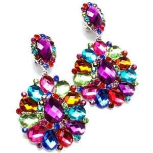 Big & Long Multi Color Crystal Clip On Earrings Jewelry