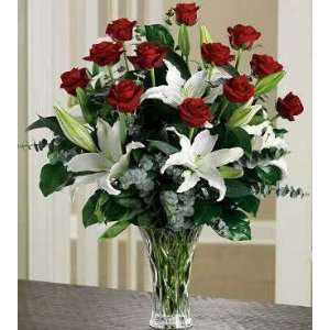 Same Day Flower Delivery Long Stem Roses and Lilies Arrangement
