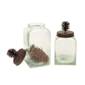 Set of 2 Modern Lodge Glass Canisters with Metal Rustic Pine Cone Lids