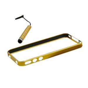 Gold Aluminium Metal Bumper Case Cover Stylus Pen for iPhone