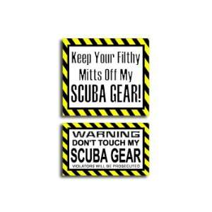 Hands Mitts Off SCUBA   Funny Decal Sticker Set