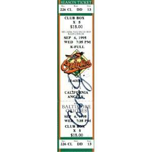 Record Breaking Game Day Ticket  9 6 95   Signed MLB Baseball Tickets