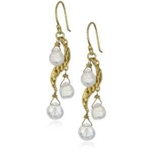 Benjamin Sea Moonstone Briolets Gold Plated Earrings Jewelry