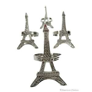 of 4 Elegant Silver Eiffel Tower Paris Napkin Rings