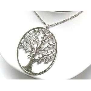 Crystal Studded Big Tree Pendant Necklace Fashion Jewelry