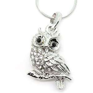 Silvertone Owl Crystal Pendant Necklace Fashion Jewelry Jewelry