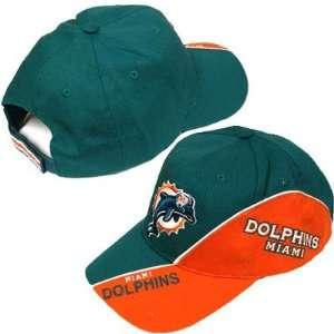 NFL MIAMI DOLPHINS GREEN ORANGE OSFA HAT CAP NEW ADJ