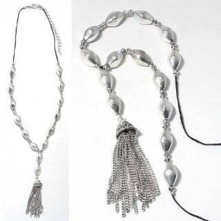 Crystal & Black Pearl Tassel Chain Necklace & Earring Set