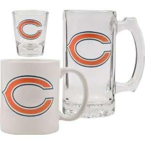 Chicago Bears Glassware Set 3D Logo Tankard, Coffee Mug, Shot Glass