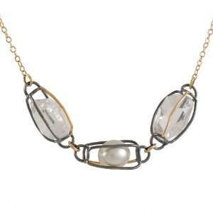 MELISSA JOY MANNING  Herkimer Diamond and Pearl Necklace: Jewelry
