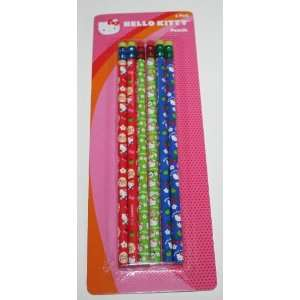 Hello Kitty 6 Pack Pencils Red/Green/Blue