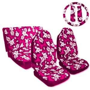 New 7pcs Pink Hawaiian Pattern Car Seat Cover Automotive