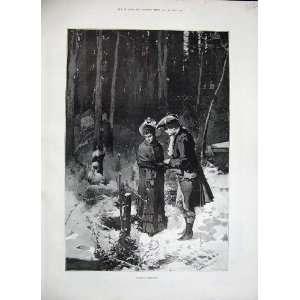 1884 Man Woman Romance Snow Winter Trees Fine Art