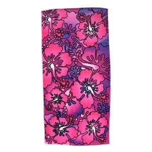 Pink / Purple Hibiscus Flowers Reactive Beach Towel 60 X