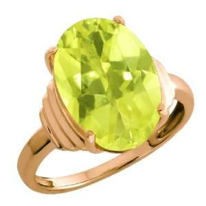 90 Ct Yellow Oval Lemon Quartz and White18k Rose Gold Ring Jewelry