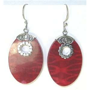 Oval Filagree Red Coral and Sterling Silver Earrings