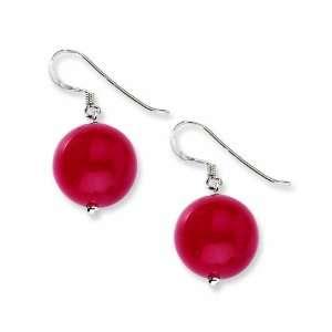 Sterling Silver 14mm Red Jade Earrings West Coast Jewelry Jewelry