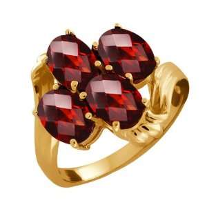 3.20 Ct Checkerboard Red Garnet 10k Yellow Gold Ring Jewelry