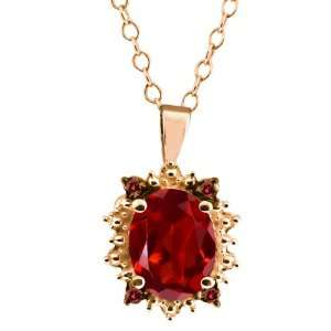 03 Ct Genuine Oval Red Garnet Gemstone 14k Rose Gold Pendant Jewelry