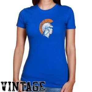 Virginia State Trojans Ladies Royal Blue Distressed Logo Vintage Slim