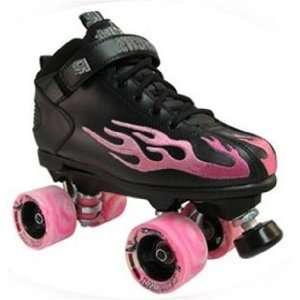 Derby roller skates pink flame black Speed Skates   Size 6