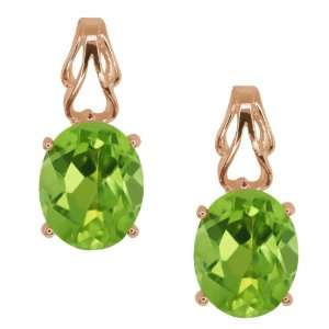 2.70 Ct Oval Green Peridot 18k Rose Gold Earrings Jewelry