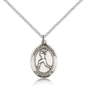 Gold Filled St. Saint Christopher/Softball Medal Pendant 3