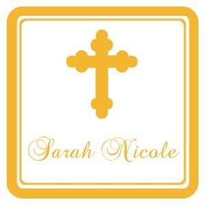 Gold Striped Border Cross Baptism Square Return Address